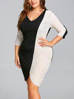 Vestido Bodycon Brillante De Dos Tonos Y Talla Grande - Negro 5xl