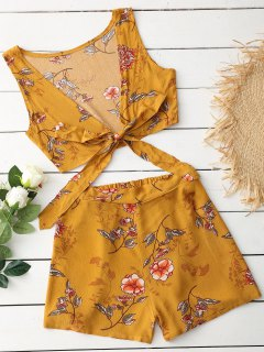 Sleeveless Floral Crop Top And Shorts Set - Earthy M