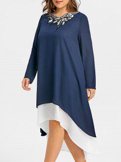 Robe Trapèze à Taille Basse Et à Taille Haute - Bleu Foncé 5xl