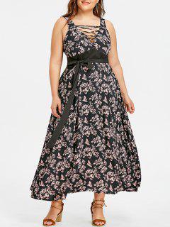 Vestido Con Cinturón Floral Cruzado De Talla Grande - Floral 5xl