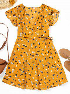 Floral Print Mini Wrap Dress - Floral L