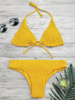 Padded Smcoked Bikini Top And Bottoms - Yellow S