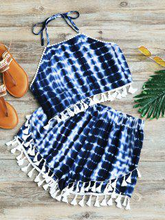Tie Dyed Fringed Top And High Waisted Shorts Set - Blue M