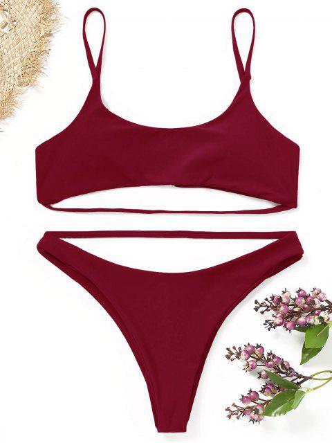 Conjunto de bikini con tiras acolchadas - Dark Red M Mobile