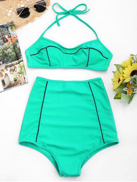 Conjunto de bikini halter de talle alto - Lago verde S Mobile