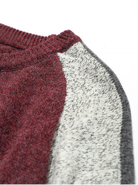 hot Mens Colorblock Sweater - CLARET 2XL Mobile