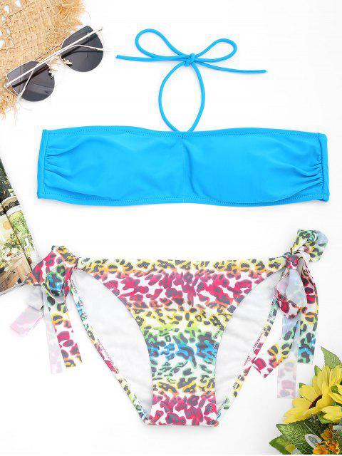 shop Leopard Bandeau Bikini Set - LAKE BLUE L Mobile