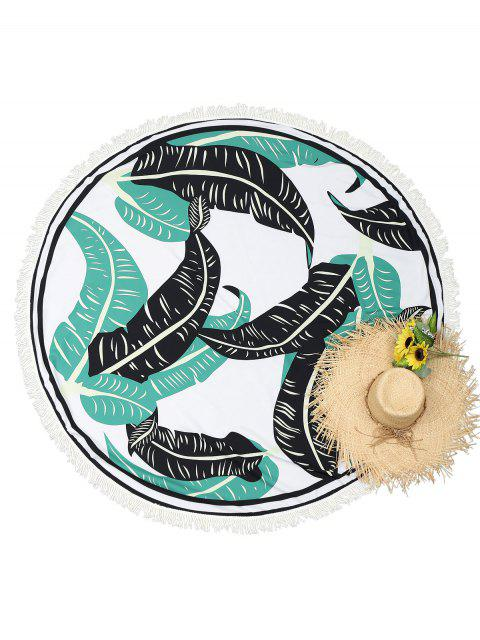 Round Leaf Print Tassels Beach Throw - Blanco Única Talla Mobile