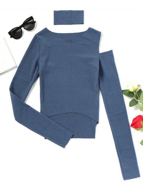 Haut Longues Manches à Epaule Dénudée et Ourlet Haut Bas - Bleu Taille Unique Mobile
