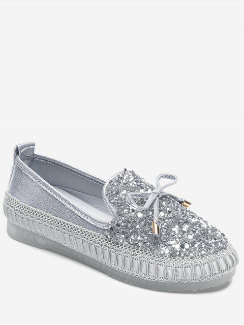 lady Bow Rhinestone Loafer Shoes - SILVER 37 Mobile