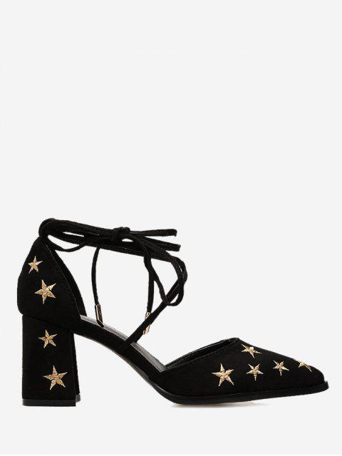 women Stars Embroidery Ankle Strap Mid Heel Pumps - BLACK 39 Mobile