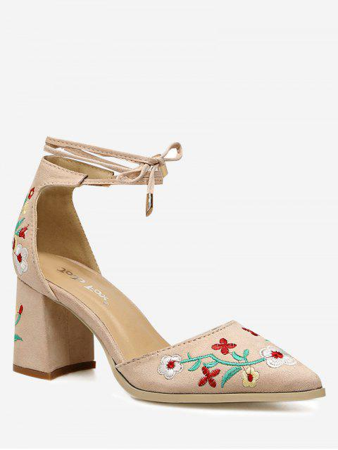 best Two Piece Flower Embroidery Pumps - APRICOT 36 Mobile
