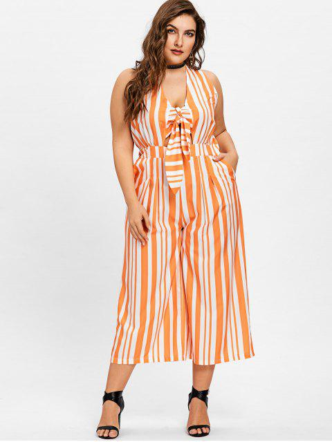 hot Plus Size Striped Wide Leg Jumpsuit - ORANGE + WHITE XL Mobile