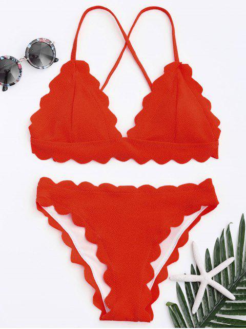 Conjunto de bikini festoneado - Rojo S Mobile