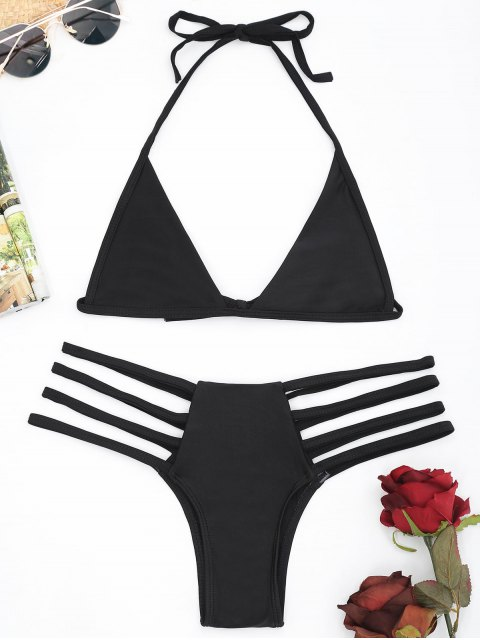 chic Unlined Strappy Bikini Set - BLACK L Mobile