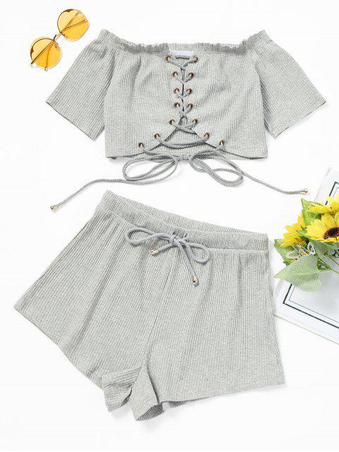 Juego de shorts y top con cordones en el hombro - Gris Claro M Mobile