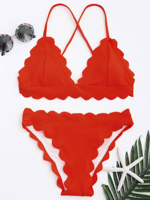 Ensemble Bikini Festonné - Rouge S Mobile