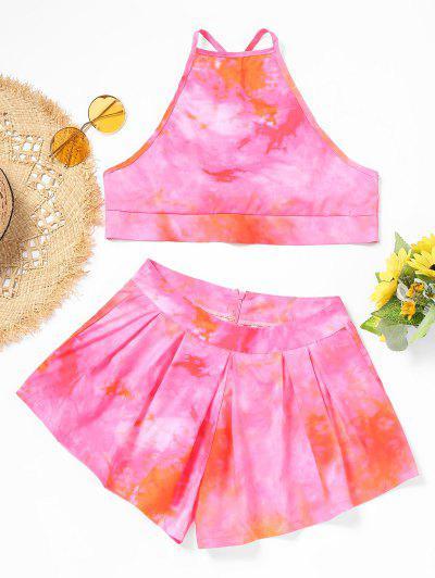 Tie Dye Cami Top And Shorts Set - Papaya L