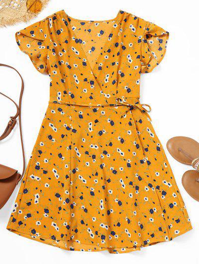 Floral Print Mini Wrap Dress - Floral M