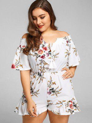 Off Shoulder Floral Plus Size Romper