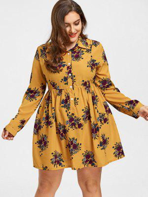 Roll Sleeves Buttons Floral Plus Size Dress