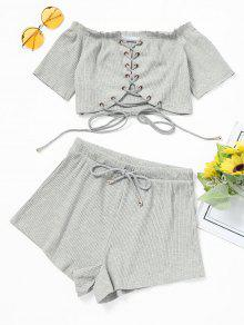 Off Shoulder Lace Up Top E Shorts Set - Cinza Claro S