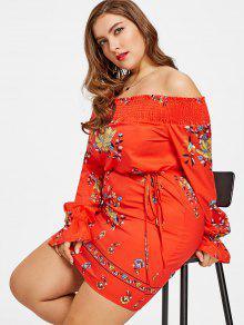 فستان الحجم الكبير طباعة الأزهار سموكيد بلا اكتاف - أحمر 2xl