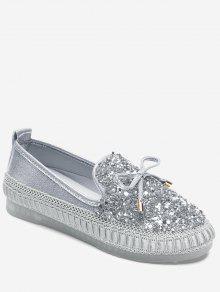 القوس حجر الراين متعطل أحذية - فضة 37