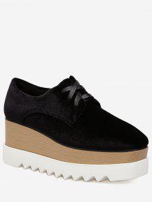 حذاء ذو كعب روكي متوسط الطول - أسود 36