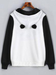 Negro Panda Con Capucha Canguro Blanco S Sudadera De Face Bolsillo 0Oq046