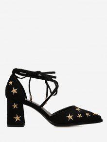 حذاء بحزام حول الكاحل مزين بنجوم ذو كعب متوسط الطول - أسود 39
