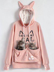 زائد الحجم القط حامل الحقيبة جيب هوديي - زهري 5xl