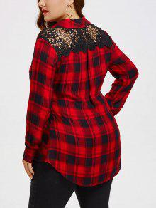 زائد حجم الدانتيل لوحة الظهر قميص طويل الأكمام - أسود أحمر 5xl