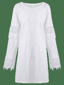 6405322f8f222 22% OFF  2019 Plus Size Crochet Lace Panel Shift Dress In WHITE 4XL ...
