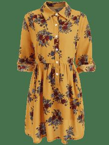 Roll 2xl Sleeves Buttons Tallas De Grandes Jengibre Floral Vestido rraqxwd8O