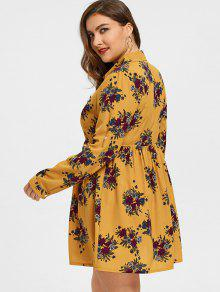 ee4c7933d49 32% OFF  2019 Roll Sleeves Buttons Floral Plus Size Dress In GINGER ...