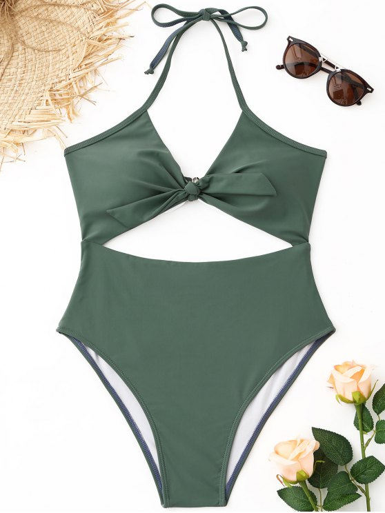 Costume Da Bagno Tagliato Alto Con Allacciatura Al Collo - Verde Salvia L
