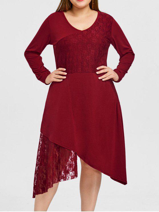 فستان بمقاس كبير ذو حافة من الدانتيل متباينة الطول - أحمر 3XL