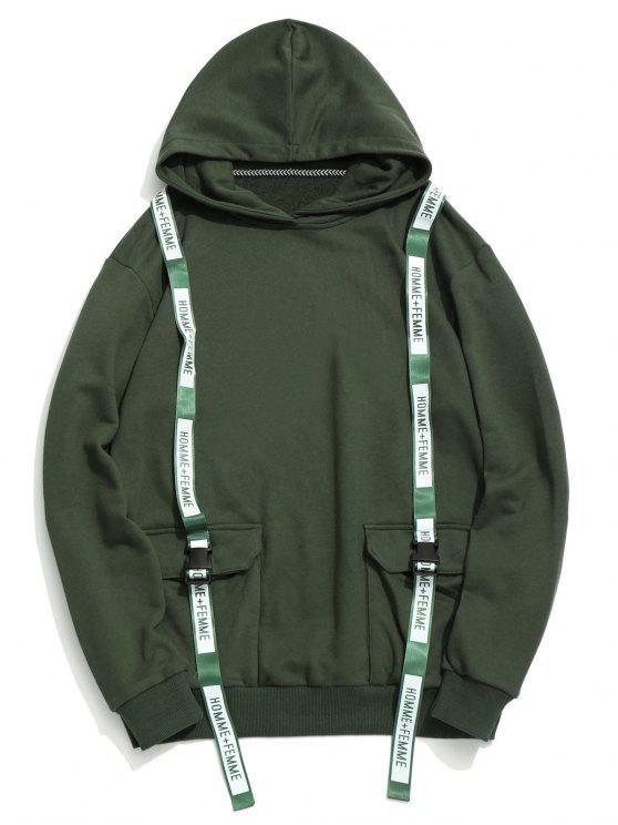 Solapa de bolsillos de cintas con capucha - Verde M