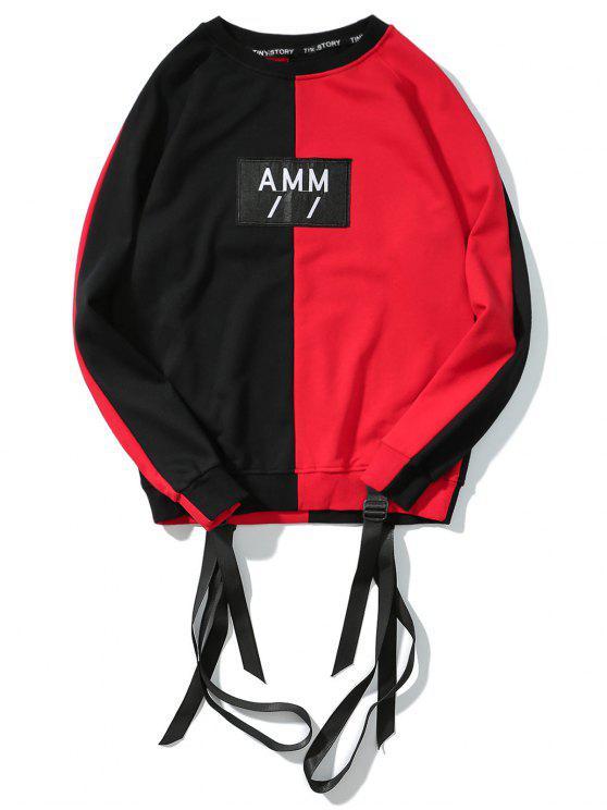 Camisola da luva do Raglan do remendo da letra da fita - Vermelho com Preto M