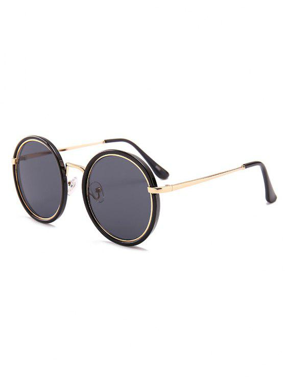 Anti-fadiga Metal Full Frame Round Óculos de sol - PRETO E CINZA