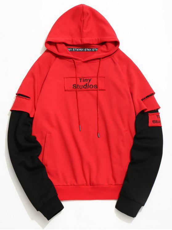 9ec8577a105 57% OFF  2019 Ripped Underlay Sleeve Patch Design Hoodie In RED