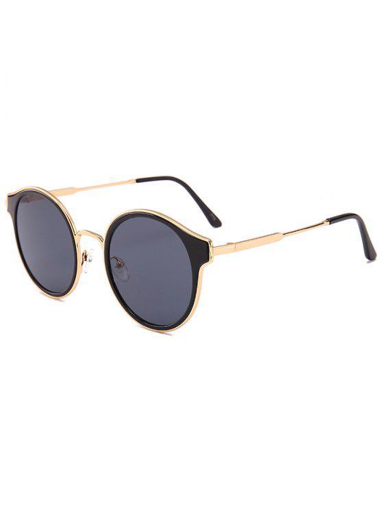 2019 Metal Full Frame Cat Eye Round Sunglasses In GOLD FRAME + BLACK ... a28f7481eed9