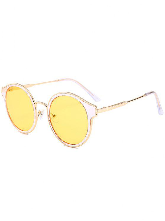 Óculos de sol redondos de olho cheio de olho de metal - Amarelo Claro b9915208ea