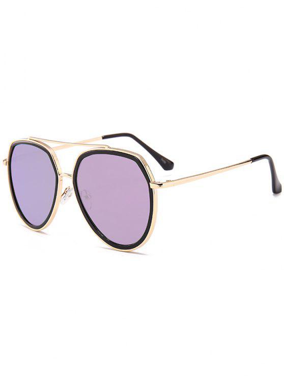Metall Bar dekoriert Sonnenbrille Pilot Sonnenbrille - Lila