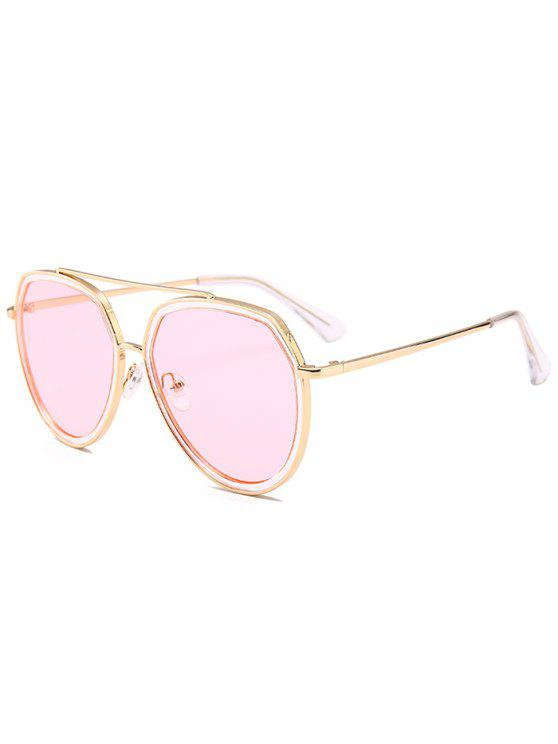 Metal Bar Decorado Sun Shades Pilot Sunglasses - Rosa Claro