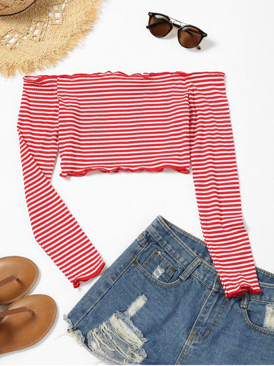 women's Lettuce Trim Off The Shoulder Striped Crop Top - RED WITH WHITE S
