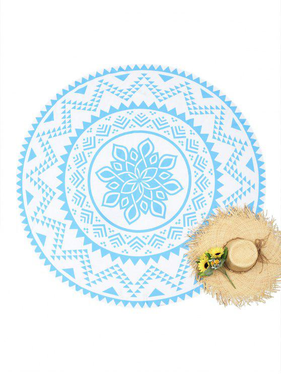 best Printed Circle Beach Throw - BLUE AND WHITE ONE SIZE