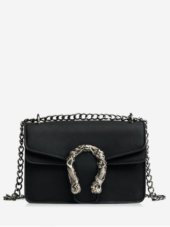 Hot Metal Embellished Chain Flap Crossbody Bag Black