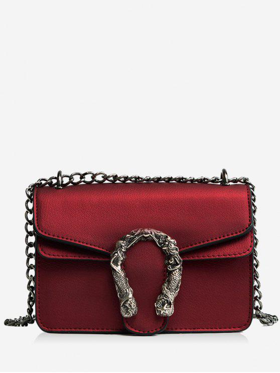 outfit Metal Embellished Chain Flap Crossbody Bag - RED